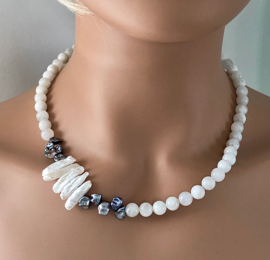 Moonstone and Freshwater Pearl Single Strand Necklace and Earrings Set - NEC-MN-1 - April B Collection