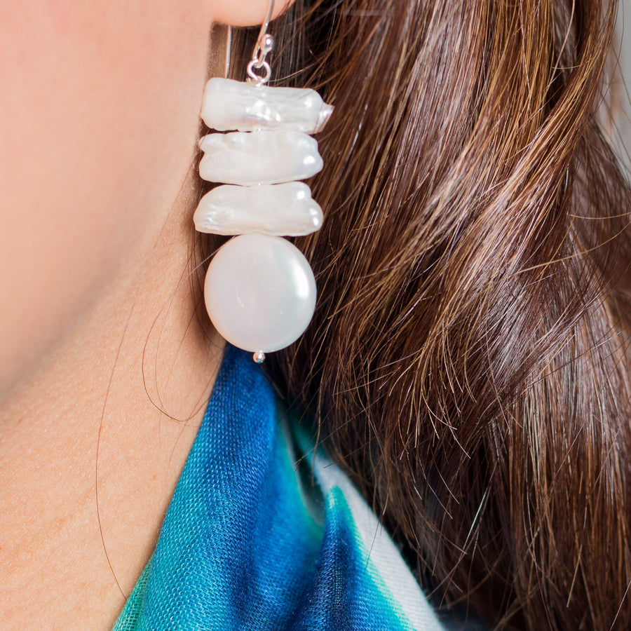 Freshwater Stick and Coin Pearl Earrings