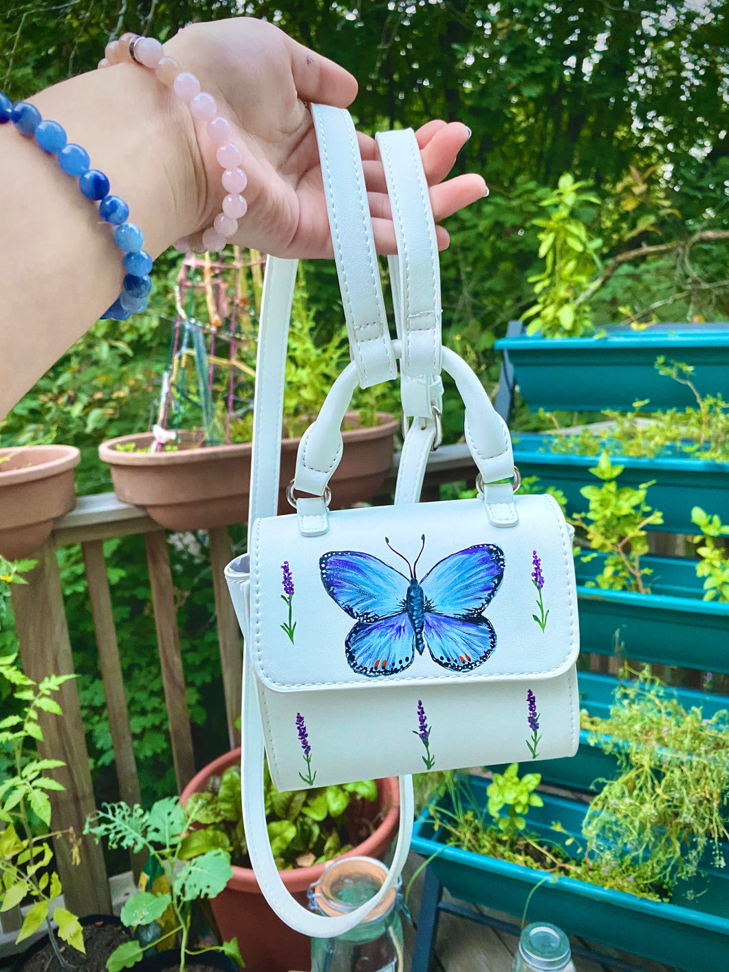 Hand Painted Butterfly Crossbody Bag
