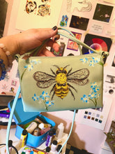 Load image into Gallery viewer, Bees and Blue Flowers Shoulder Bag