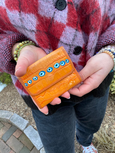 Orange Evil Eye Wallet - Majestic Hudson Lifestyle Experiences