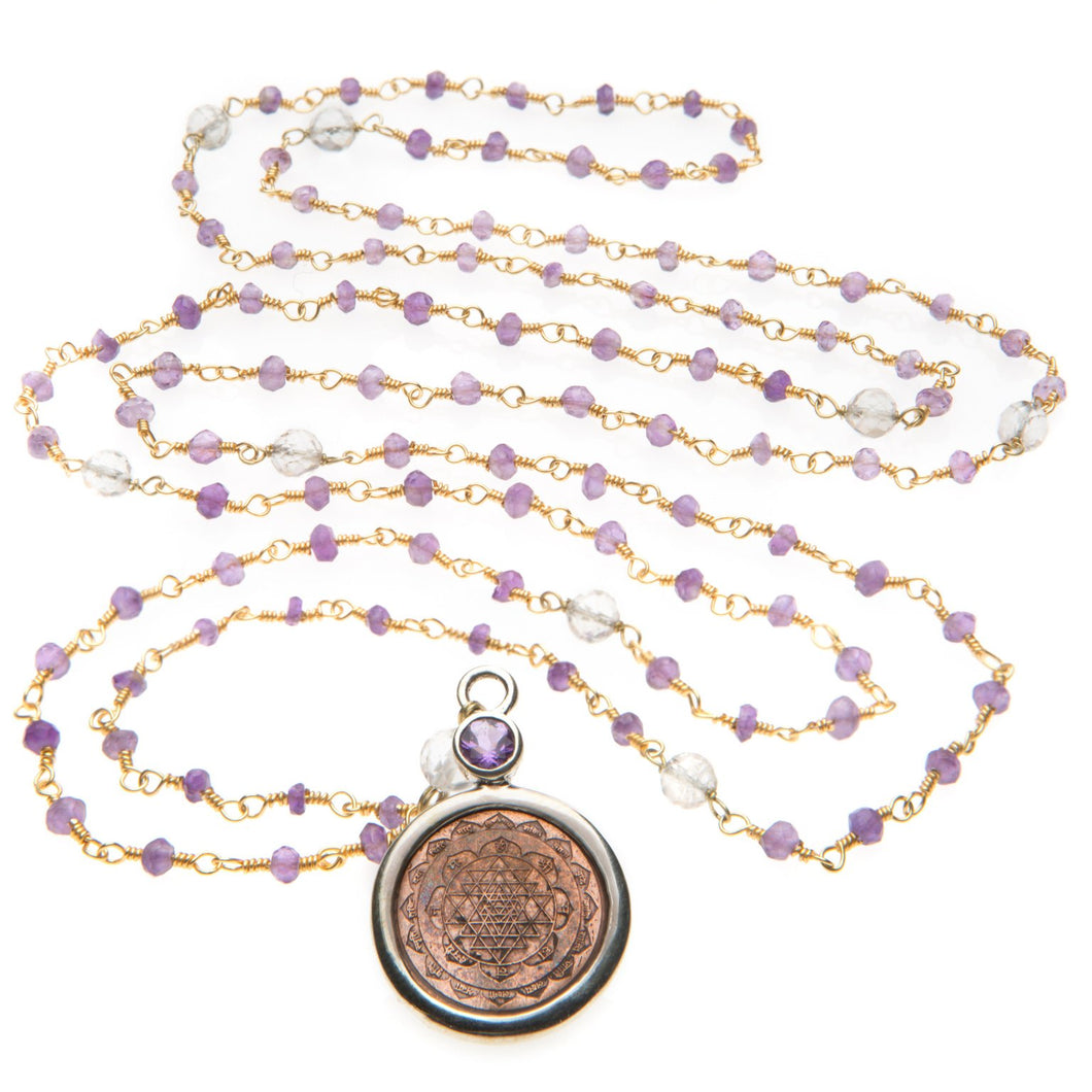 Amethyst & Crystal Sri Yantra Pendant Mala Necklace