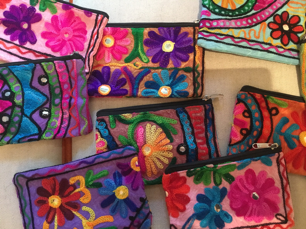 Indian embroidered zippered pouches - Majestic Hudson Lifestyle Experiences