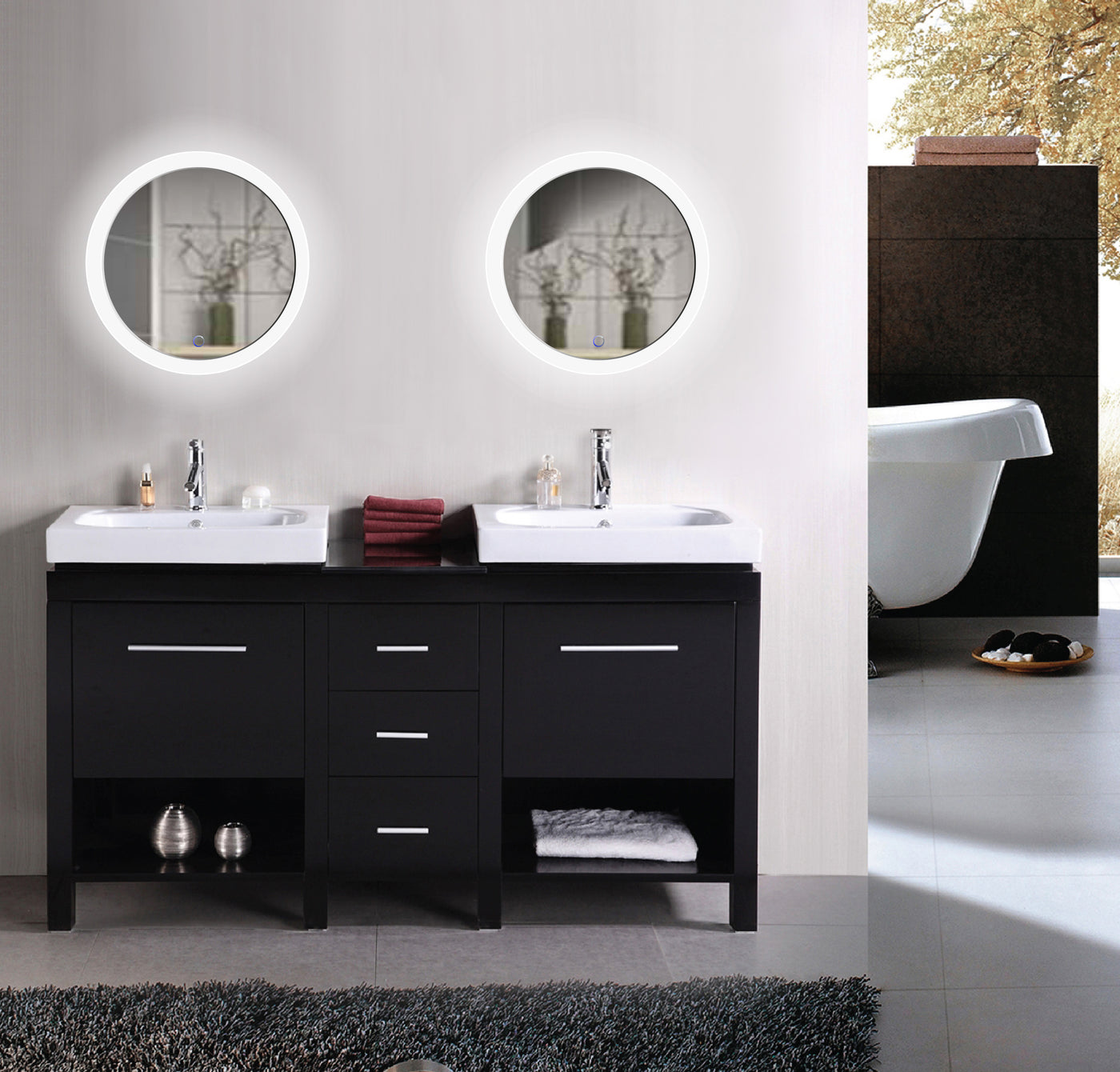 Krugg round bathroom vanity mirror with led lights sol22 valientlux round bathroom vanity mirror with lights sol two mirrors aloadofball Images