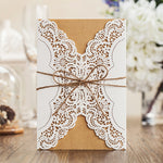 Laser Cut Western Style Vintage Wedding Invitation Card