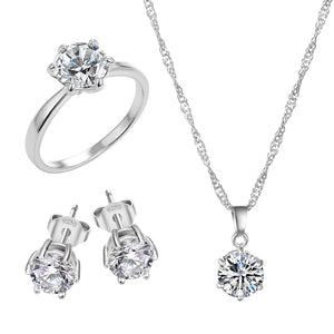 Silver Cubic Zirconia Necklace, Ring & Earrings Wedding Jewelry Set for Women