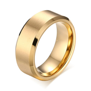 Titanium Ring Beveled Edge Men/Women Black/Silver/Gold