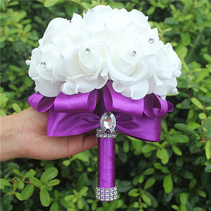 Bridesmaid Ribbon Rose Wedding Bouquet - 14 Color Options!