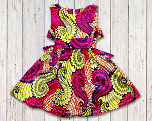 Shell Swirls African Print Gathered Dress with Belt