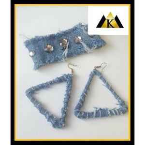Denim triangle earrings