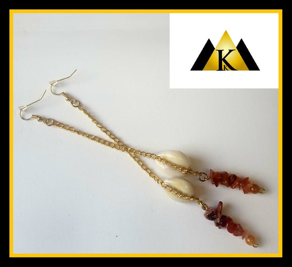 Carnelian crystals & cowrie shell gold long drop earrings