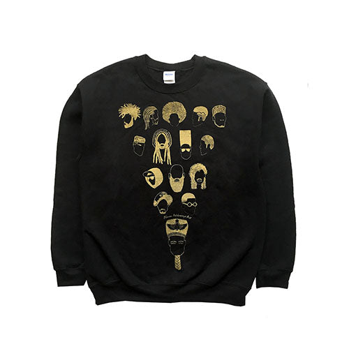 Black and Gold Men's Sweater - Showcasing Hair Styles through Time- Limited edition