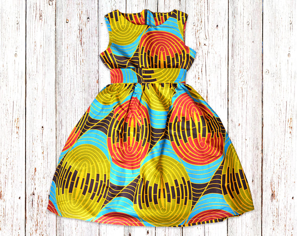 African print gathered dress with belt