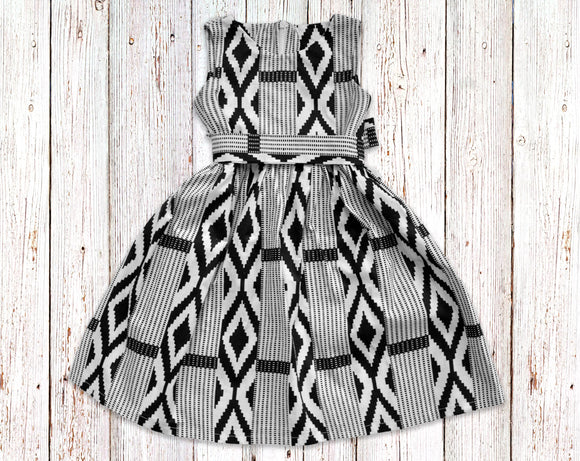 White and Black Kente Gathered Dress with Belt