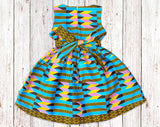 Blue Kente Gathered Dress with Belt