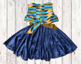 Blue Kente with Velvet Gathered Dress with Belt