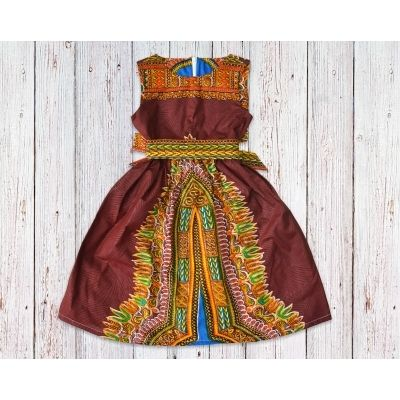Brown Dashiki African Print Gathered Dress with Belt