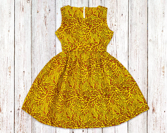 Gold Grass African Print Gathered Dress with Belt