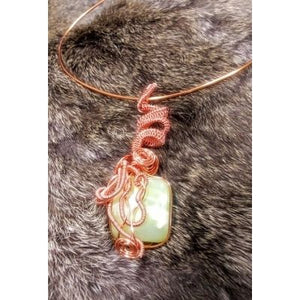 Hand-made Jadeite Pendant and Copper Choker