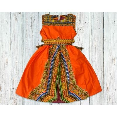 Orange Dashiki African Print Gathered Dress with Belt