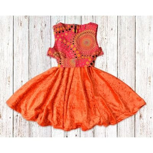 Orange Circle African Print with Velvet Gathered Dress with Belt