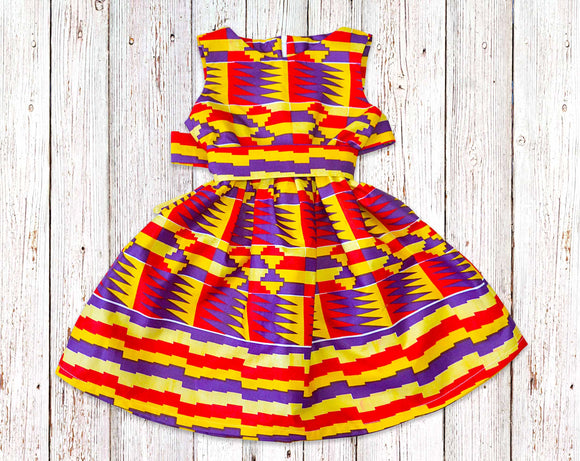 Orange and Purple Kente Gathered Dress with Belt