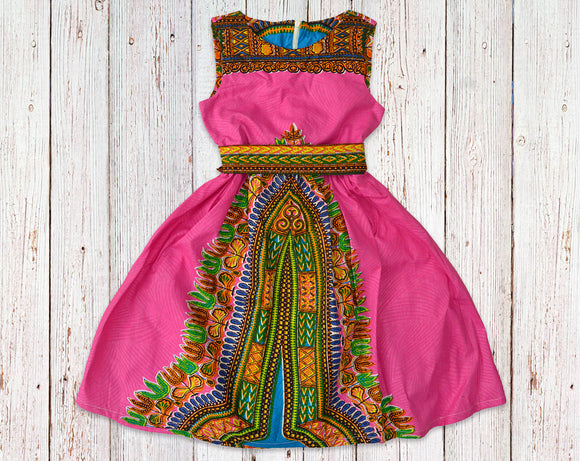 Pink Dashiki Gathered Dress with Belt