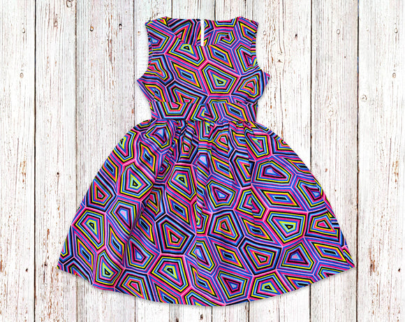 Polygon African Print Gathered Dress with Belt