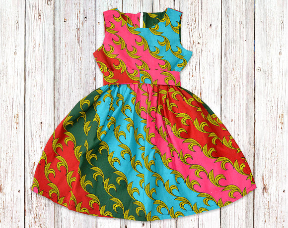 Rainbow Vines African Print Gathered Dress with Belt