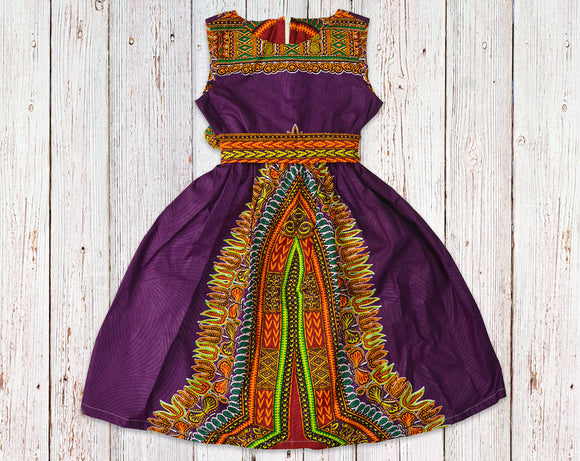Royal Purple Dashiki Gathered Dress with Belt