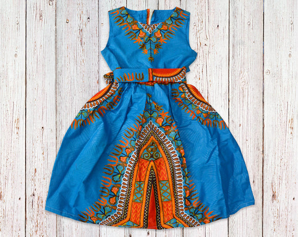 Sky Blue Dashiki Gathered Dress with Belt