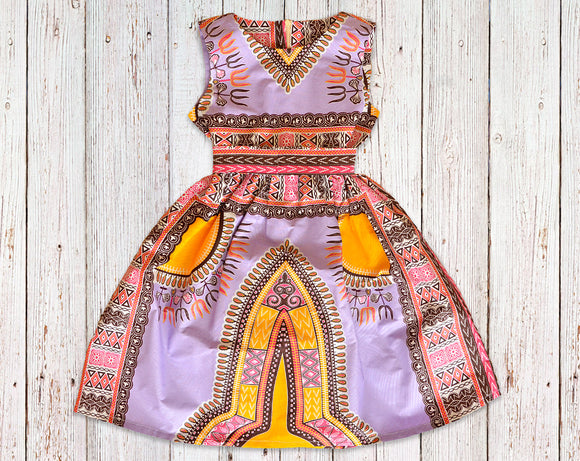 Violet Kente Gathered Dress with Belt