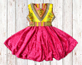 Yellow Dashiki with Velvet Gathered Dress with Belt