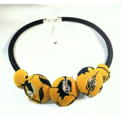 Yellow and Blue Ankara Button Design Cord Necklace