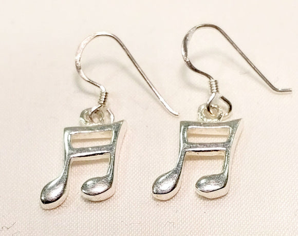 Hand-made Sterling Silver Music Beam-note Earrings
