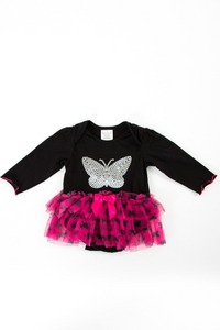 Hot pink and black tutu vest with sequin butterfly design