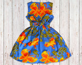 Blue Red Floral African Print Gathered Dress with Belt