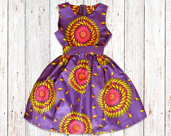 Cadburys African Print Gathered Dress with Belt