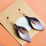 Graduated Regal Leaf Drop Earrings with Seed Beads