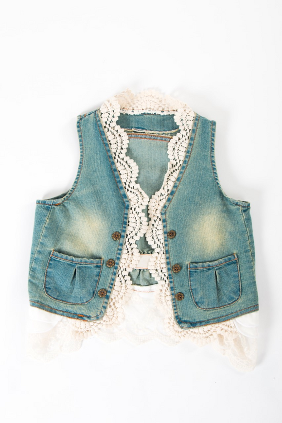 Denim waist coat with beautiful lace design and adjustable belt
