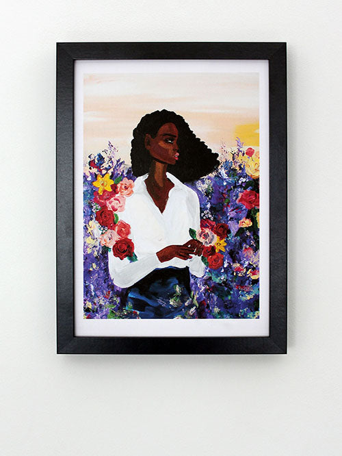 Thinking Woman in Flowers Art Print