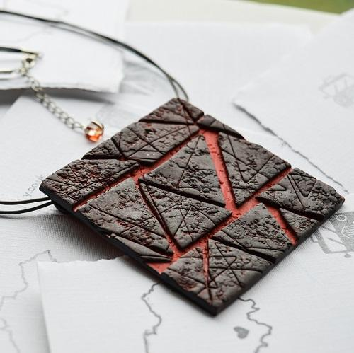 Black Ruby Textured Tile Neckpiece on leather cord
