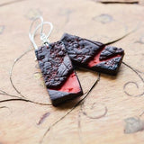 Black Ruby Textured Rectangle Tile drop earrings