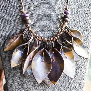 Chocolate Leaf Drop Necklace