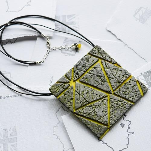 Silver Lemon Textured Tile Neckpiece on leather cord