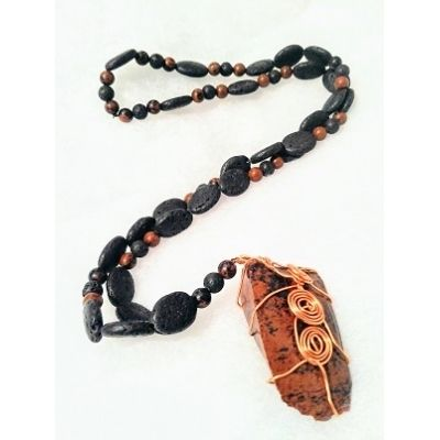 Hand-made Mahogany Obsidian and Lava Long Necklace