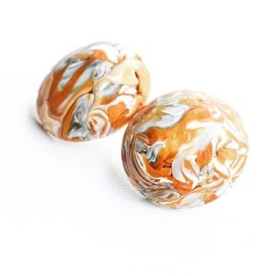 Abstract Modern Orange Bronze Polymer Clay Earrings Stud Earrings [3x sizes available]