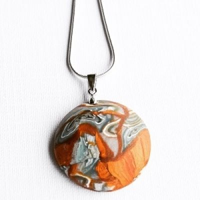 Abstract Modern Orange Bronze Polymer Clay pendant