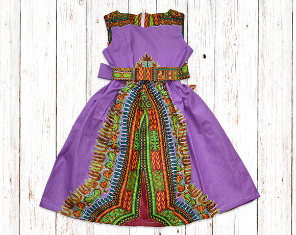 Purple Dashiki Gathered Dress with Belt
