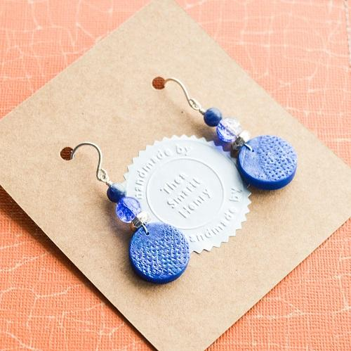 Blue Snap Textured Drop Earrings
